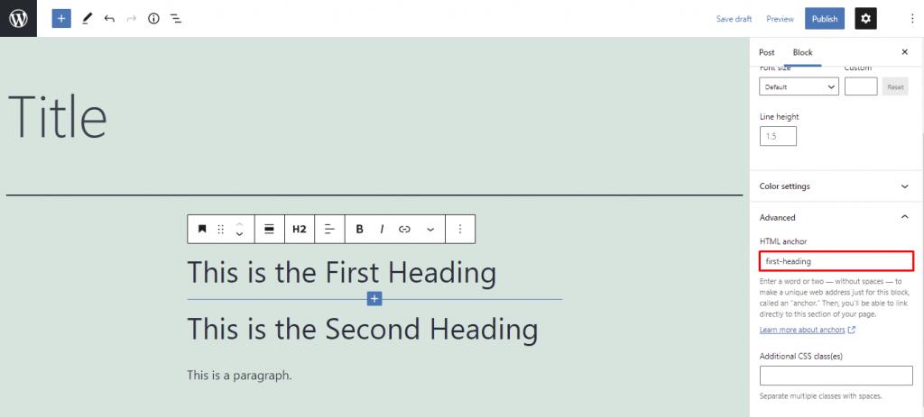 HTML anchor in the Gutenberg editor.
