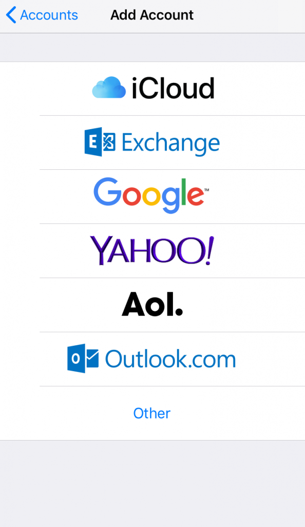 Screenshot from iPhone settings showing various email providers