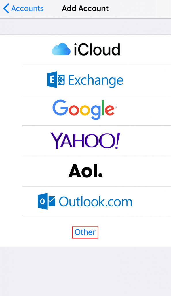 Screenshot from iPhone settings showing various email providers and where to select other