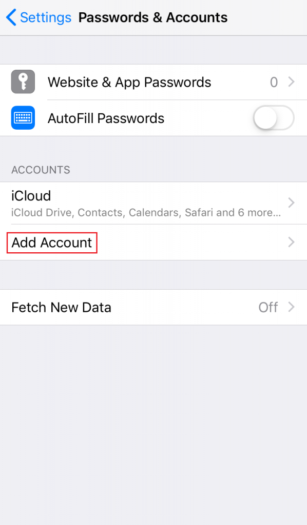 Screenshot from iPhone settings showing where to tap to add account