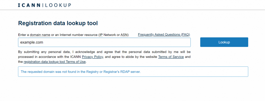 The ICANN lookup tool.