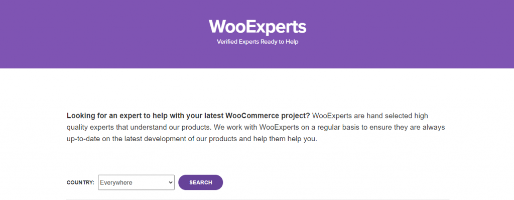 The WooExperts home page.