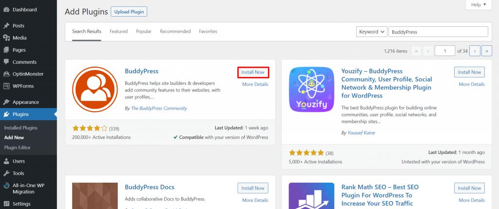 Add Plugins section, highlighting Install BuddyPress