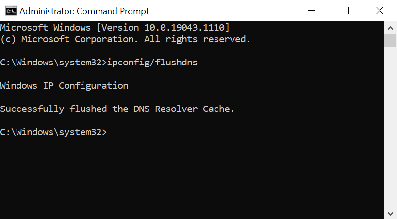 Flushing DNS on the Command Prompt.