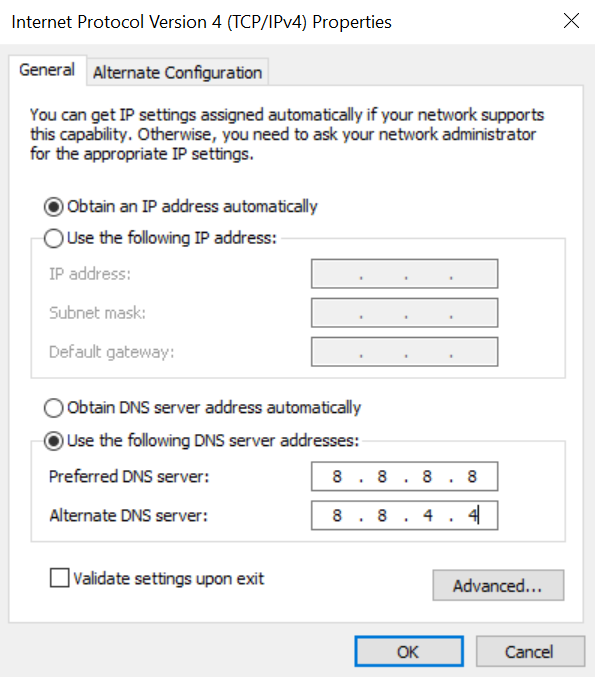Modifying DNS server details.