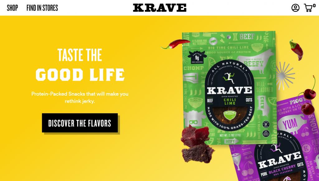 website thương mại điện tử của Krave Jerky