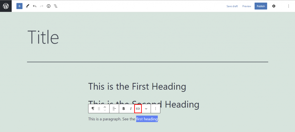 Highlighted link button.