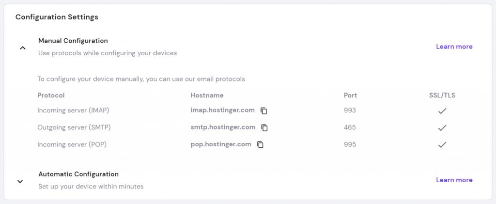 Screenshot showing the details of manual configuration - protocol, hostname, port and SSL/TLS.