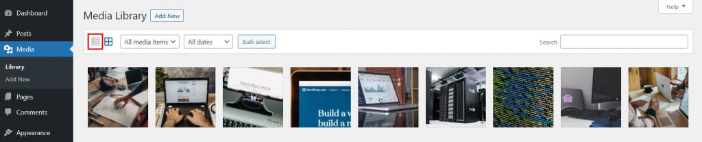 WordPress Media Library, highlighting the list layout option.