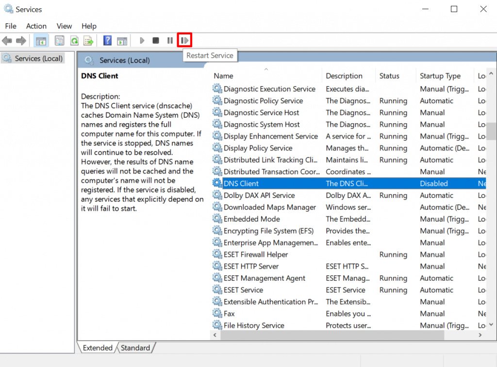 Restarting DNS Client on Windows Services Manager.