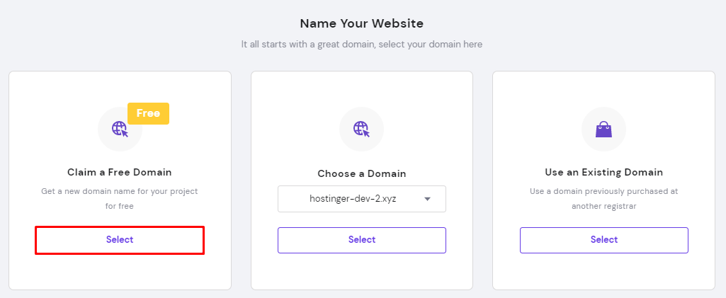 Claiming a Free Domain while setting up web hosting.