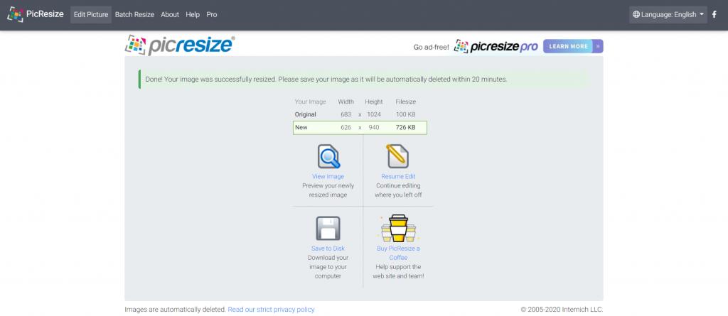 PicResize saving options.