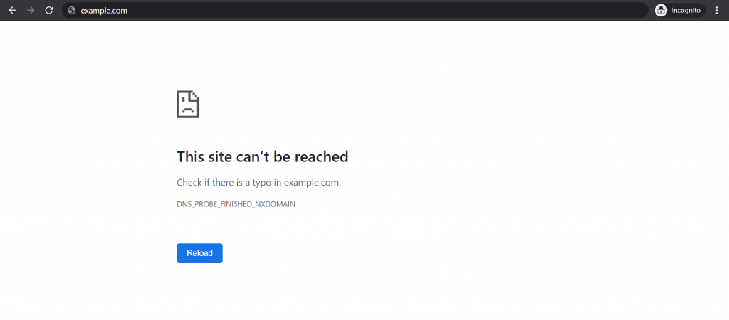 The DNS_PROBE_FINISHED_NXDOMAIN error on Google Chrome.