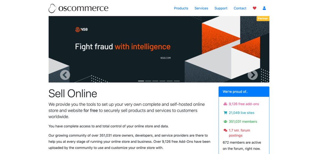 Screenshot from the osCommerce website showing its front page..