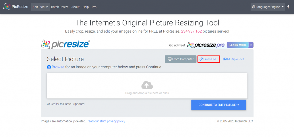 PicResize, highlighting the From URL button.