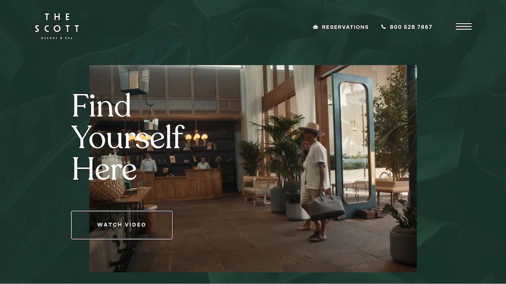 The Scott Resort and Spa site's front page.