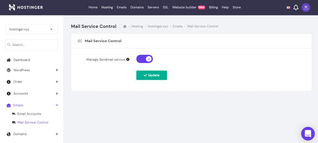 Sendmail service enabled