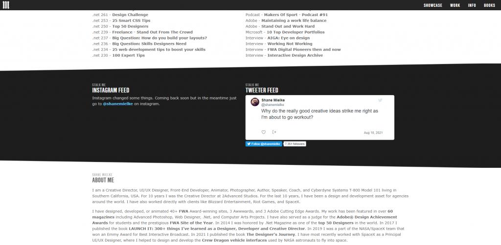 Twitter implementation on Shane Mielke's portfolio website.