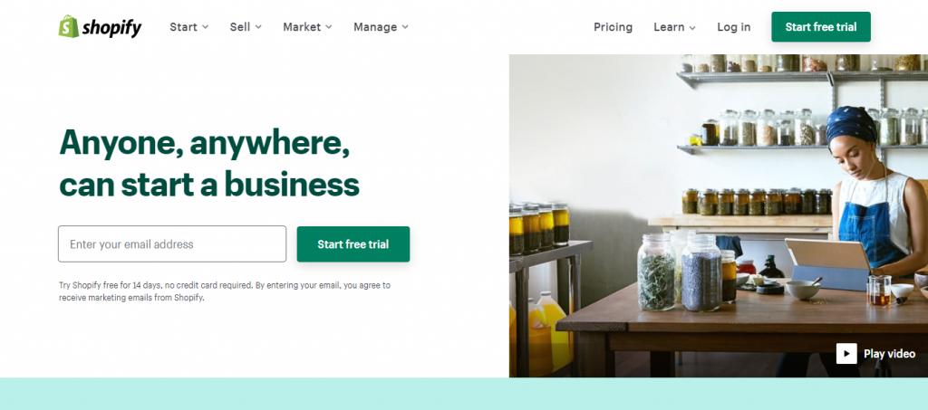 Shopify homepage.