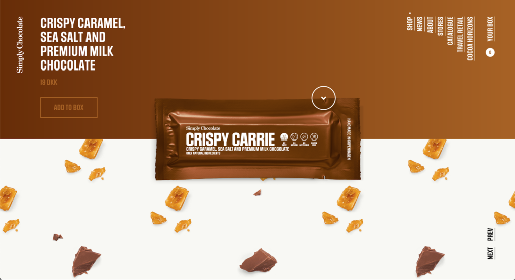 Simply chocolate site's front page.