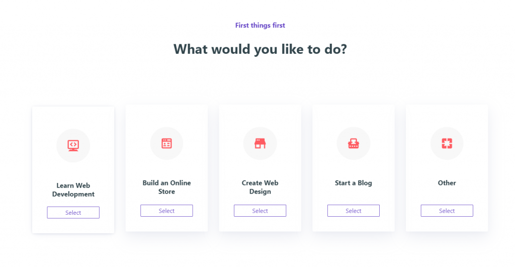 Choosing the type of web site to build.