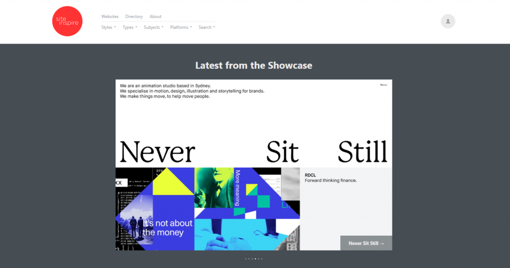 The homepage of siteInspire.