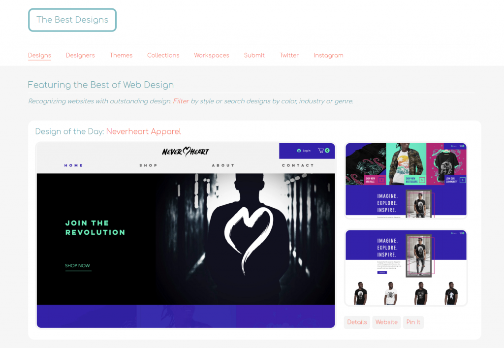 The homepage of The Best Designs.