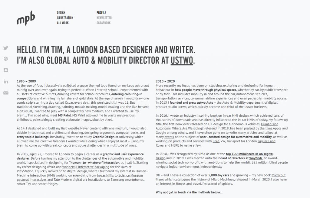 Tim Smith's portfolio page.