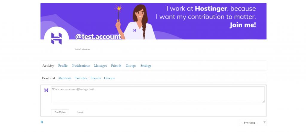 User profile window
