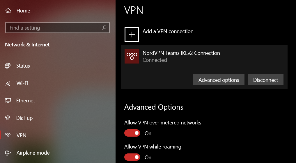 Disconnecting from a VPN on Windows.