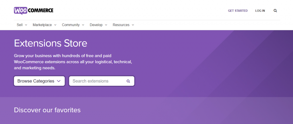 The WooCommerce extensions store.