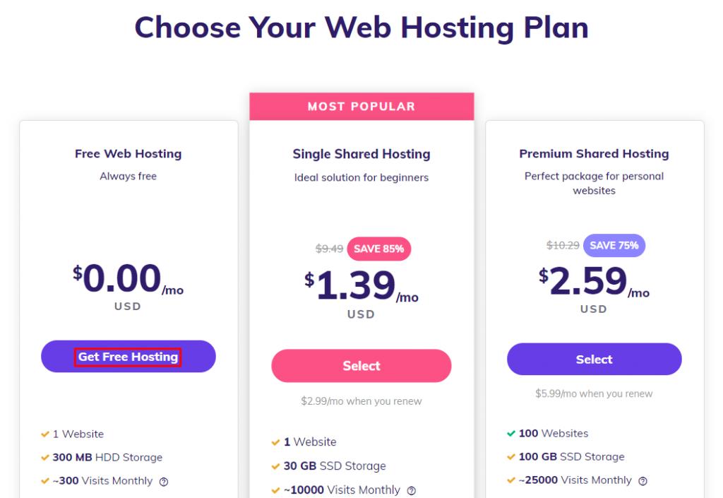 Choosing the free web hosting plan.