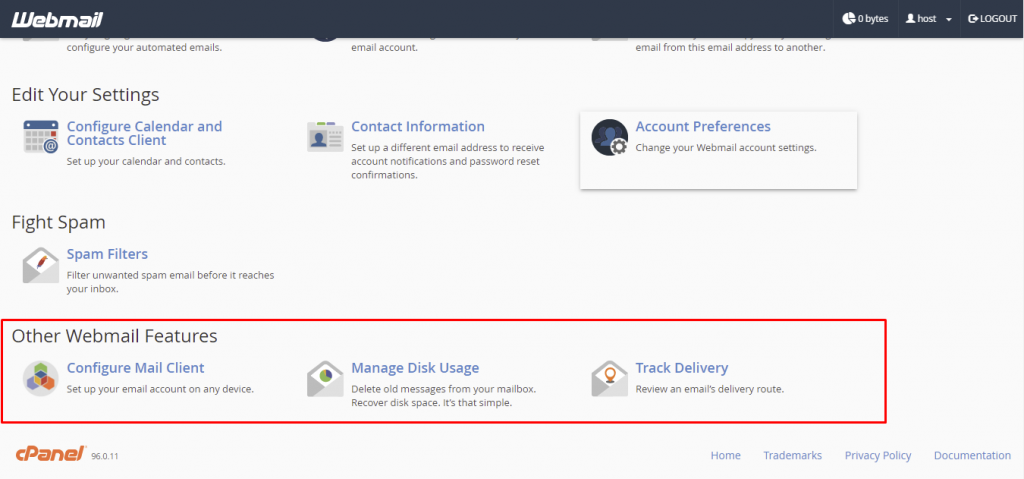 Webmail dashboard, highlighting Other Webmail Features