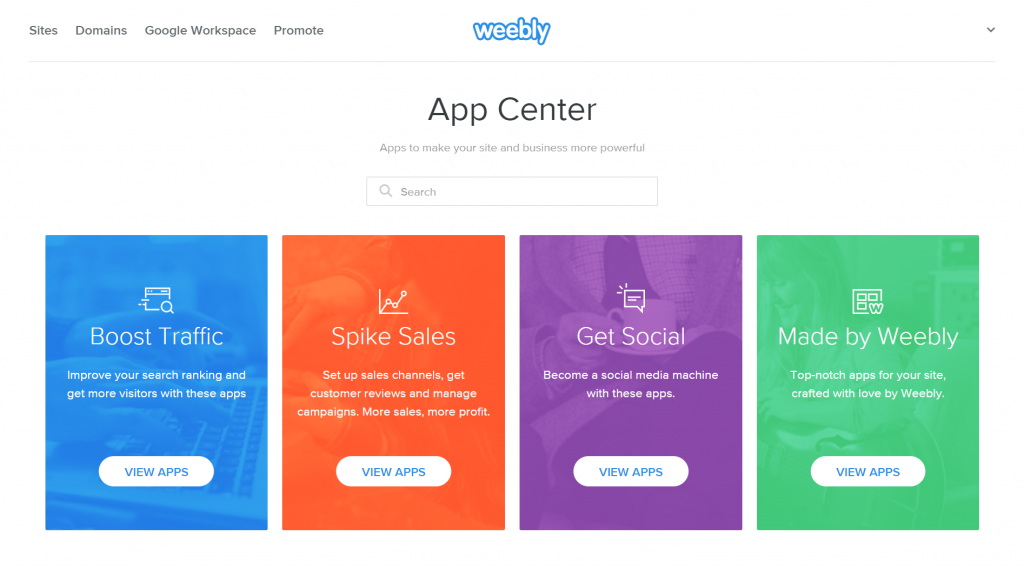 Weebly's App Center.