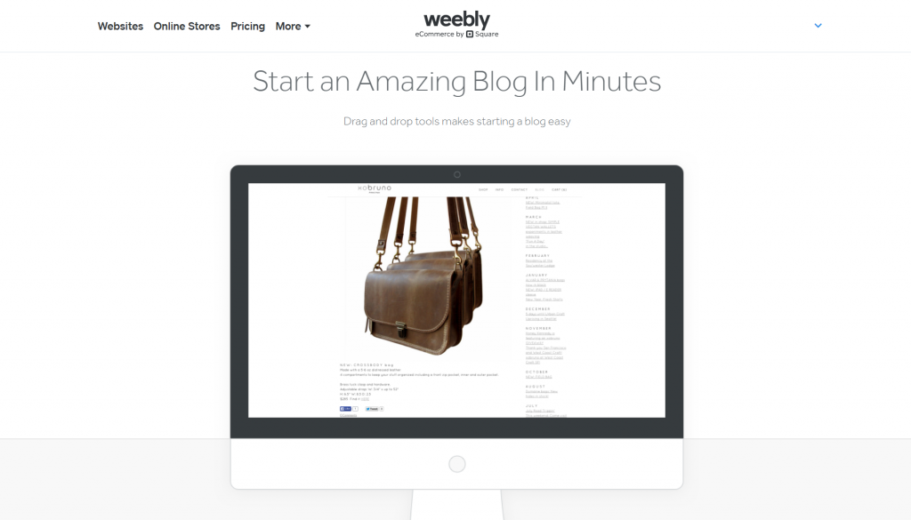 Weebly's blogging options