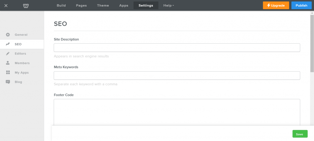 Weebly's SEO settings