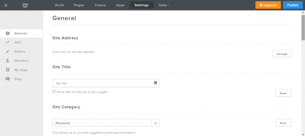 Weebly's general settings.