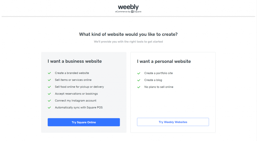 Weebly's options: create a personal or a business website.