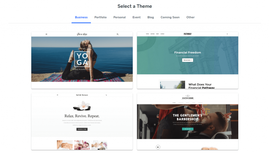Weebly's theme library.