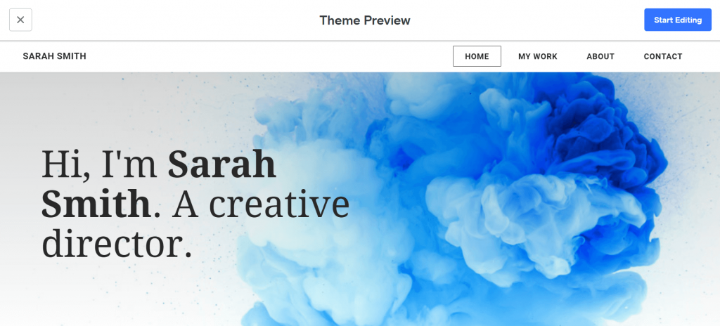 Weebly's theme preview.