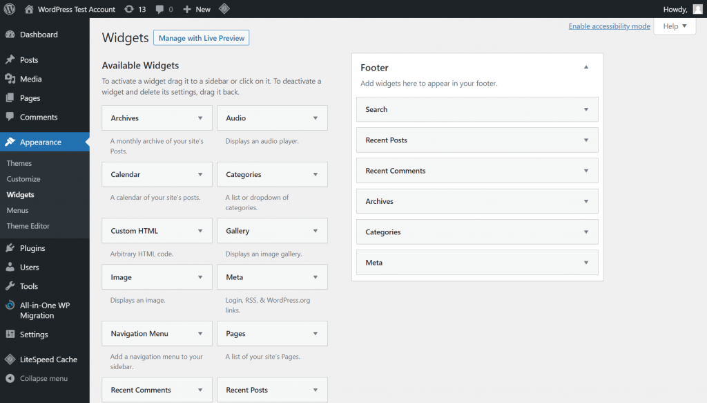 WordPress Widgets section