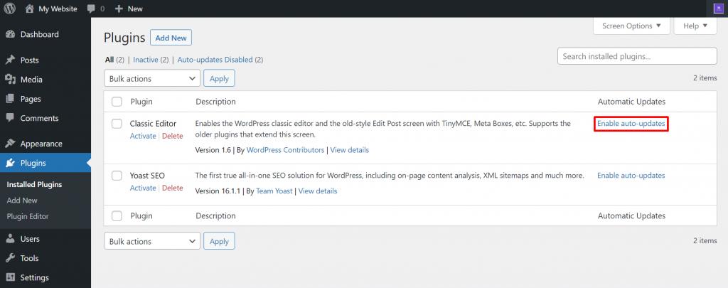 WordPress plugins auto-updates.