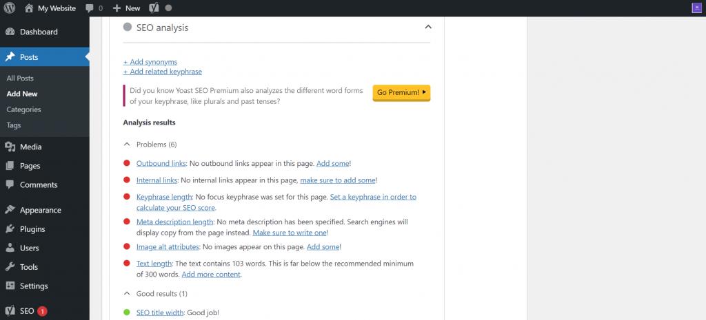 WordPress's SEO analysis.