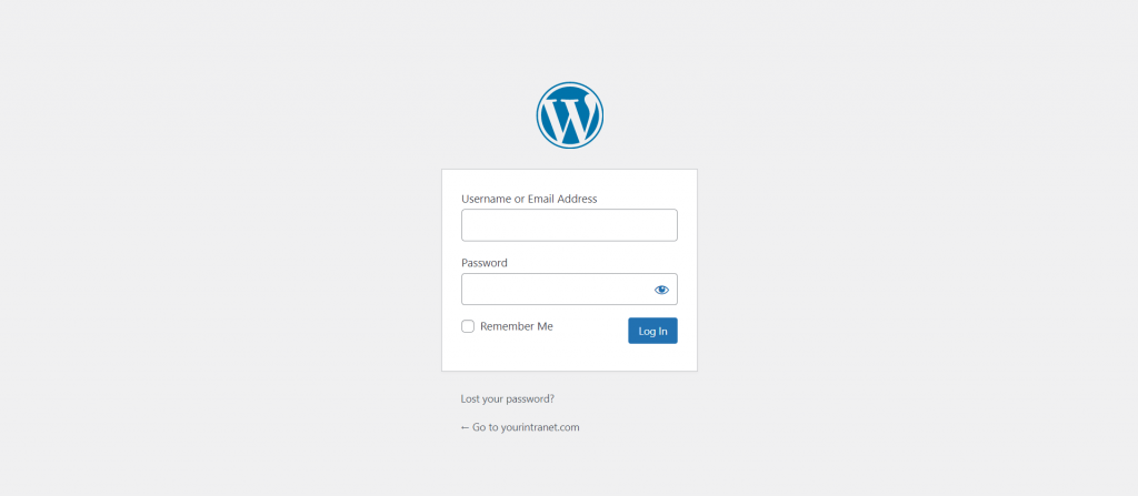 WordPress sign-in form