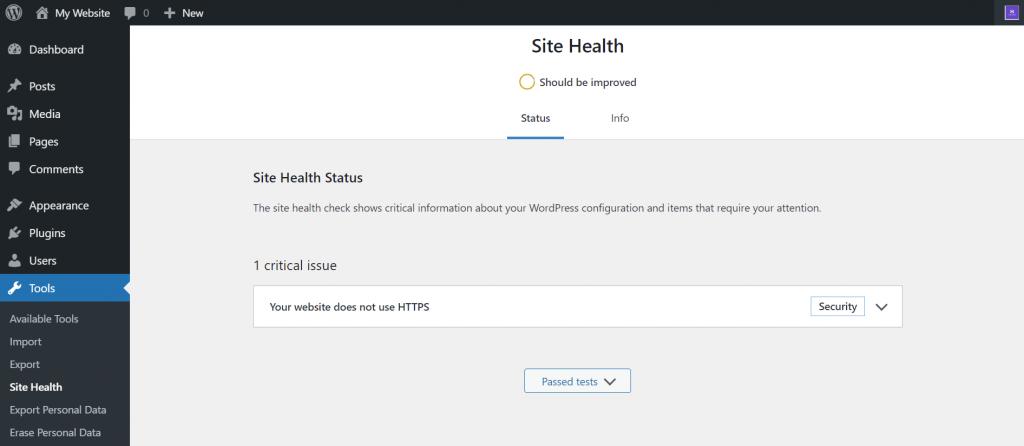 WordPress' site health status