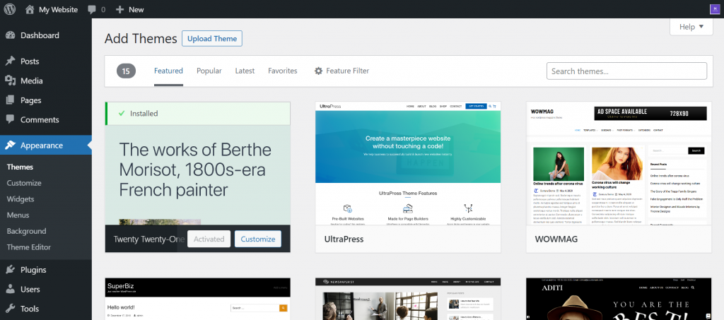 Theme library available on the WordPress dashboard.