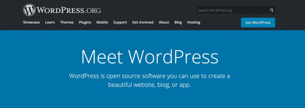WordPress landing page.