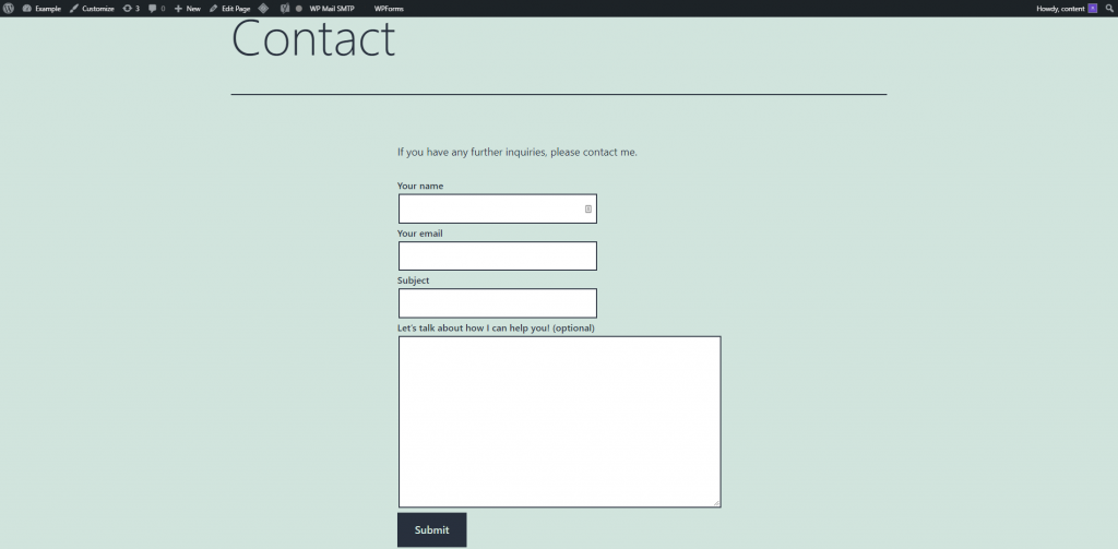 A finished contact form on WordPress.