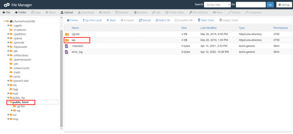 WP folder on cPanel's File Manager.