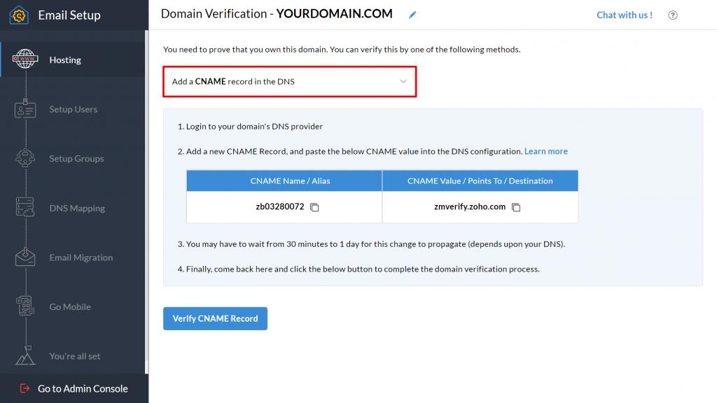 Domain verification on Zoho Mail.